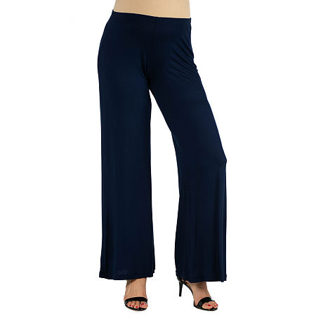 24/7 Comfort Apparel Comfortable Solid Color Palazzo Pant, 1x , Blue