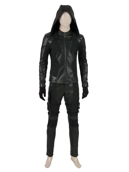 Milanoo Arrow Cosplay Arrow PU Leather Faux Leather Set DC Comics Cosplay Costume