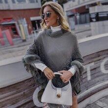 Contrast Faux Fur Fringe Trim Poncho Sweater