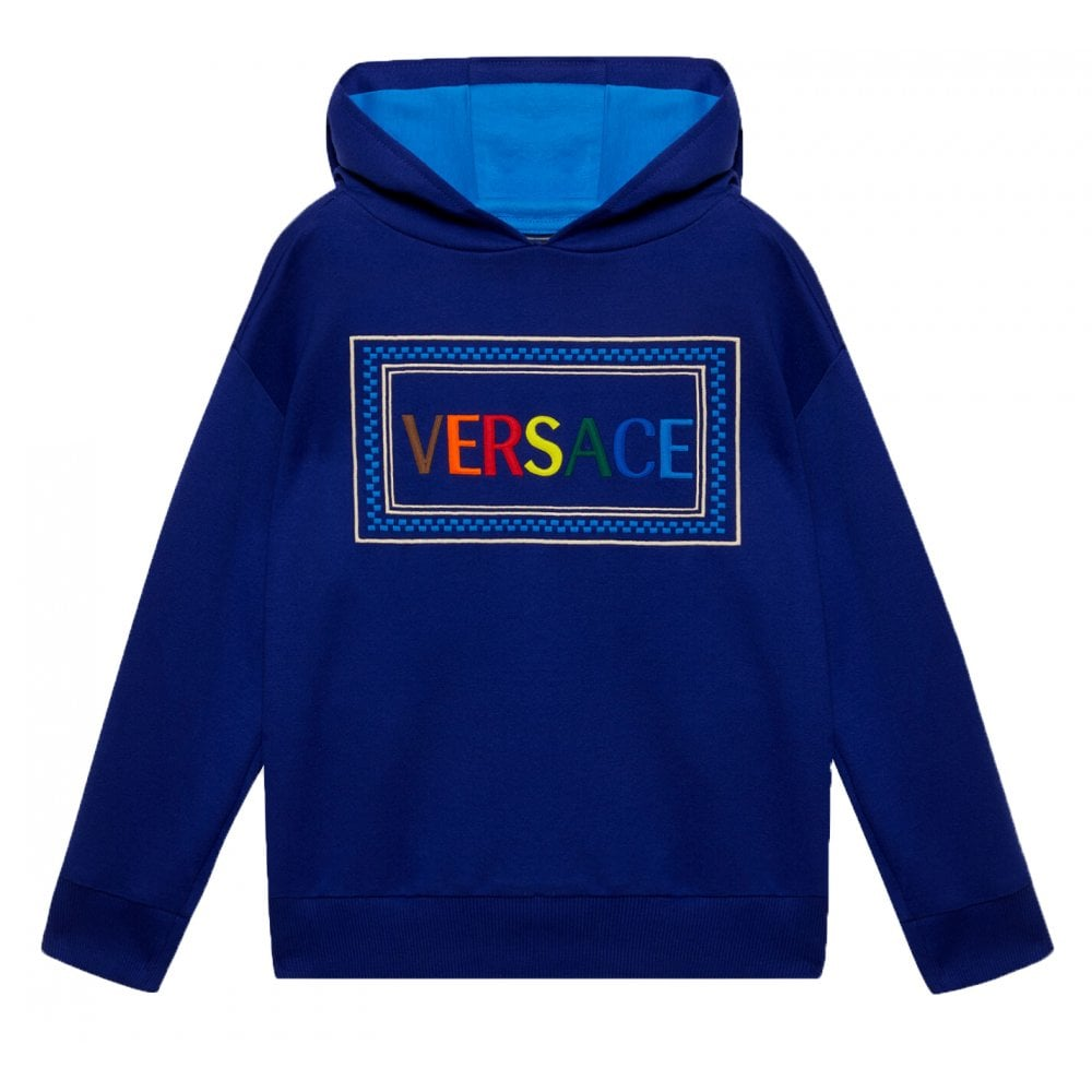 Versace Young Versace Logo Embroidered Hoodie Colour: BLUE, Size: 8 YE