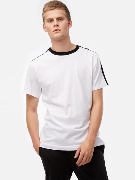 Yoins White Fashion Style Should Strip Crew Neck Short Sleeve Side Split Men's T-Shirt
