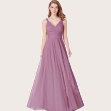 Kleid mit V Ausschnitt, Empire Taille und Netzstoff