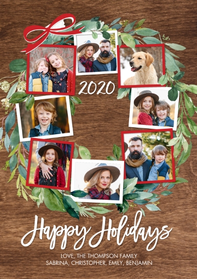 Christmas Photo Cards 5x7 Cards, Premium Cardstock 120lb with Elegant Corners, Card & Stationery -2020 Holiday Green Wreath by Tumbalina