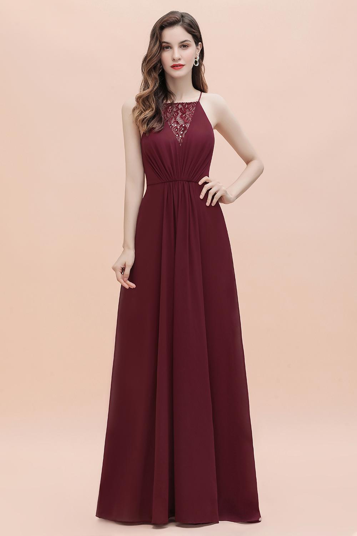 Sexy V-neck Burgundy Chiffon Bridesmaid Dress Spaghetti Straps Lace Sequins Evening Dress