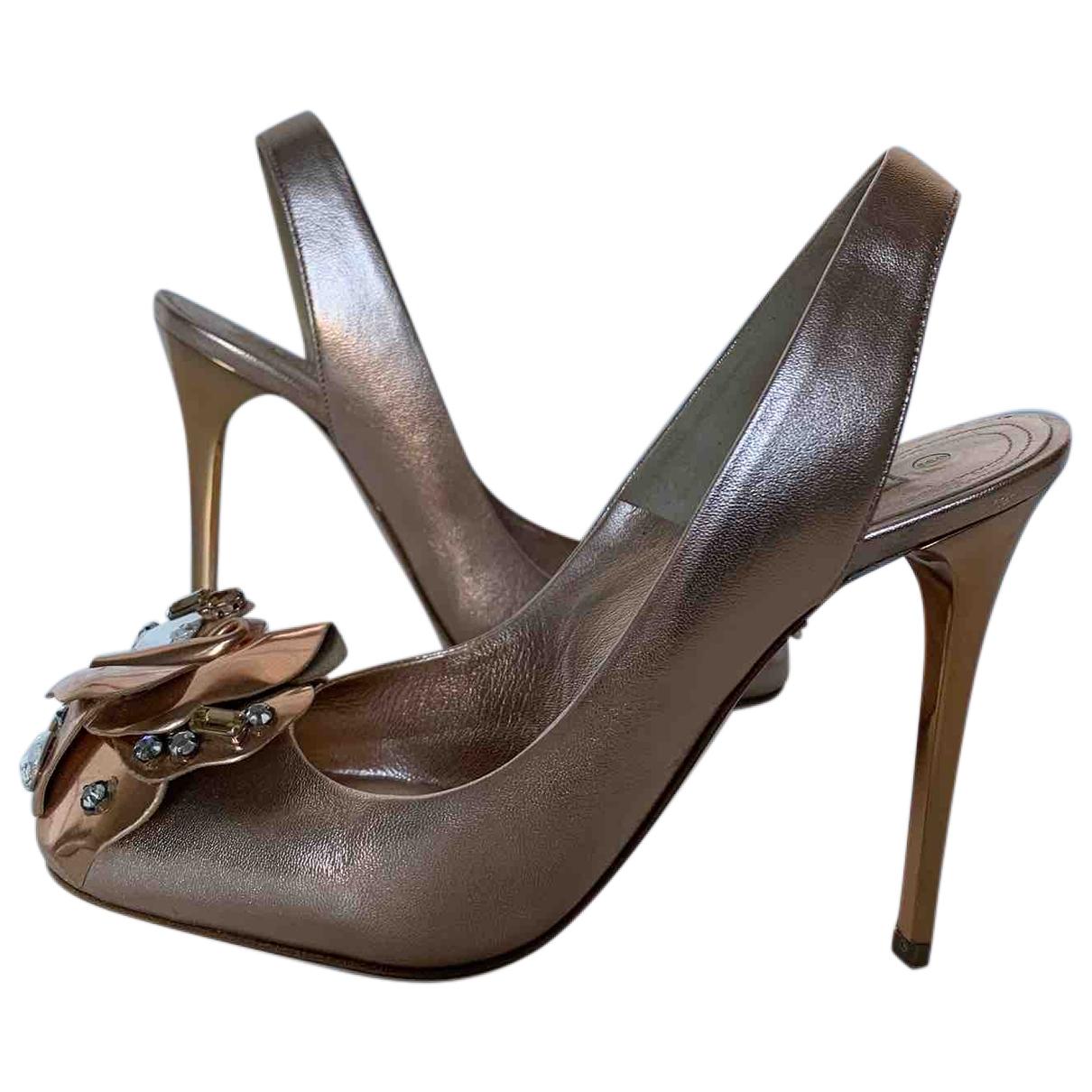 Gianmarco Lorenzi - Escarpins   pour femme en cuir - rose