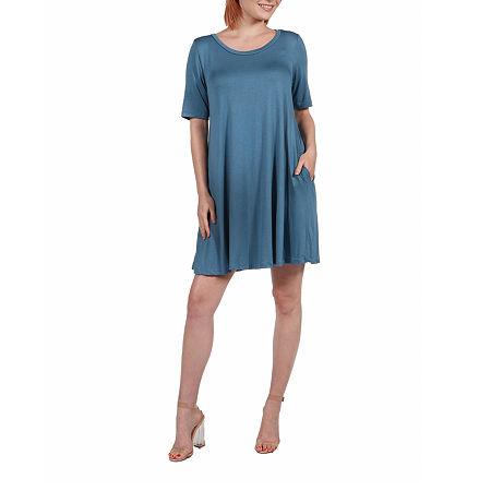 24/7 Comfort Apparel Knee Length Pocket T-Shirt Dress, Small , Blue