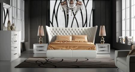Miami MIAMIBEDQS-2NSDRMR 5-Piece Bedroom Set with Queen Size Bed  2 Nightstands  Dresser and Mirror in
