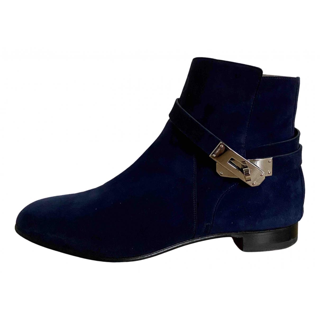 Hermes - Boots Neo pour femme en suede - bleu