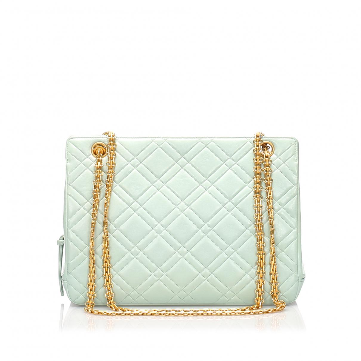 Chanel - Sac a main   pour femme en cuir - vert