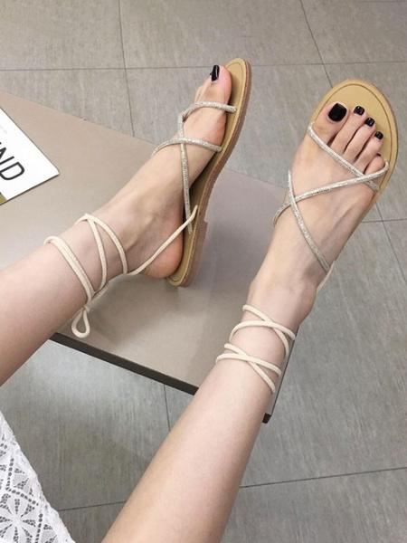 Milanoo Black Gladiator Sandals Micro Suede Upper Peep Toe Rhinestones Lace Tie Sandals