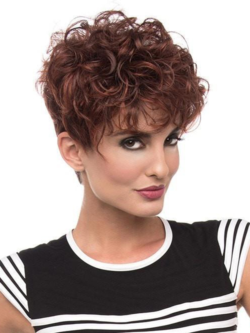 Ericdress Women's Layered Boyish Cut And Artfully Wild Curls Synthetic Hair Capless Wigs 8Inch