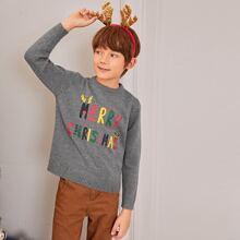 Boys Christmas Slogan Graphic Sweater
