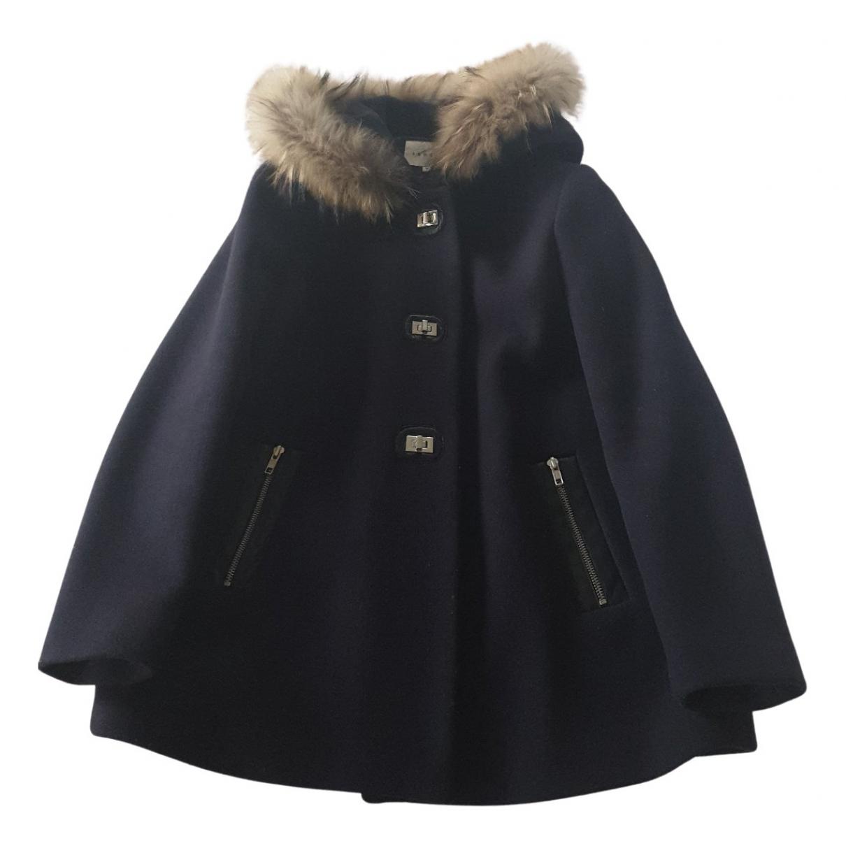 Sandro Fall Winter 2019 Navy Wool coat for Women 36 FR
