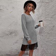 Pullover Kleid mit Spitzeneinsatz und Raglanaermeln