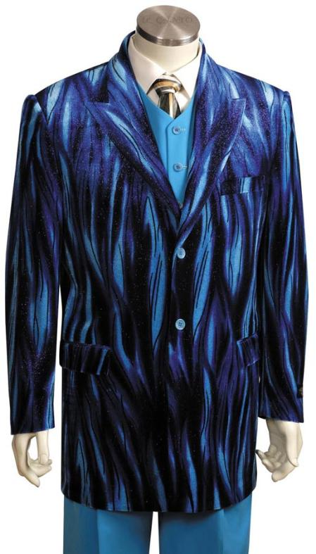 2 Button Blue Long Zoot Suit Mens