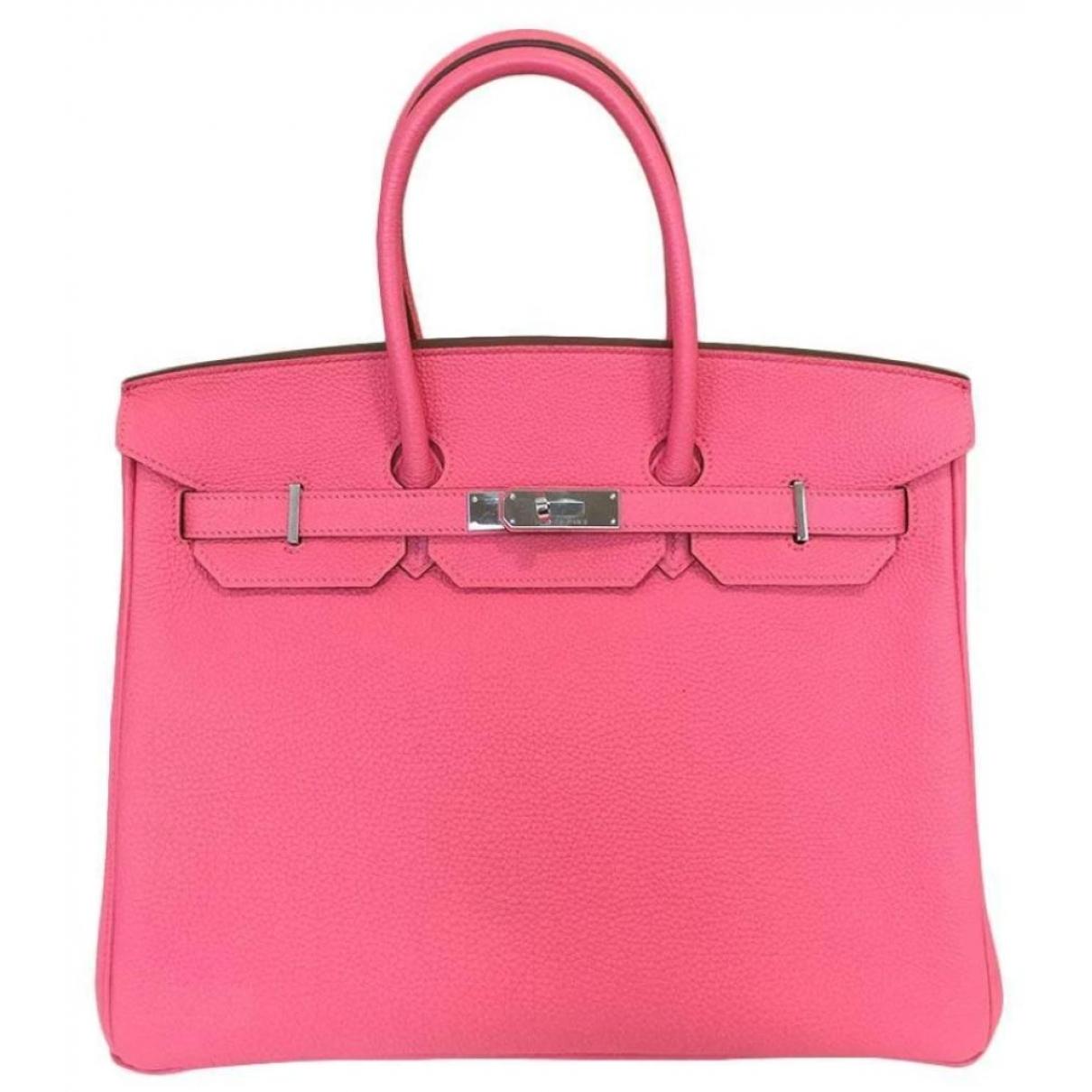 Hermès Birkin 35 Pink Leather handbag for Women \N