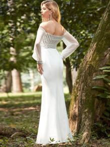 Off Shoulder Contrast Sequin Mermaid Prom Dress