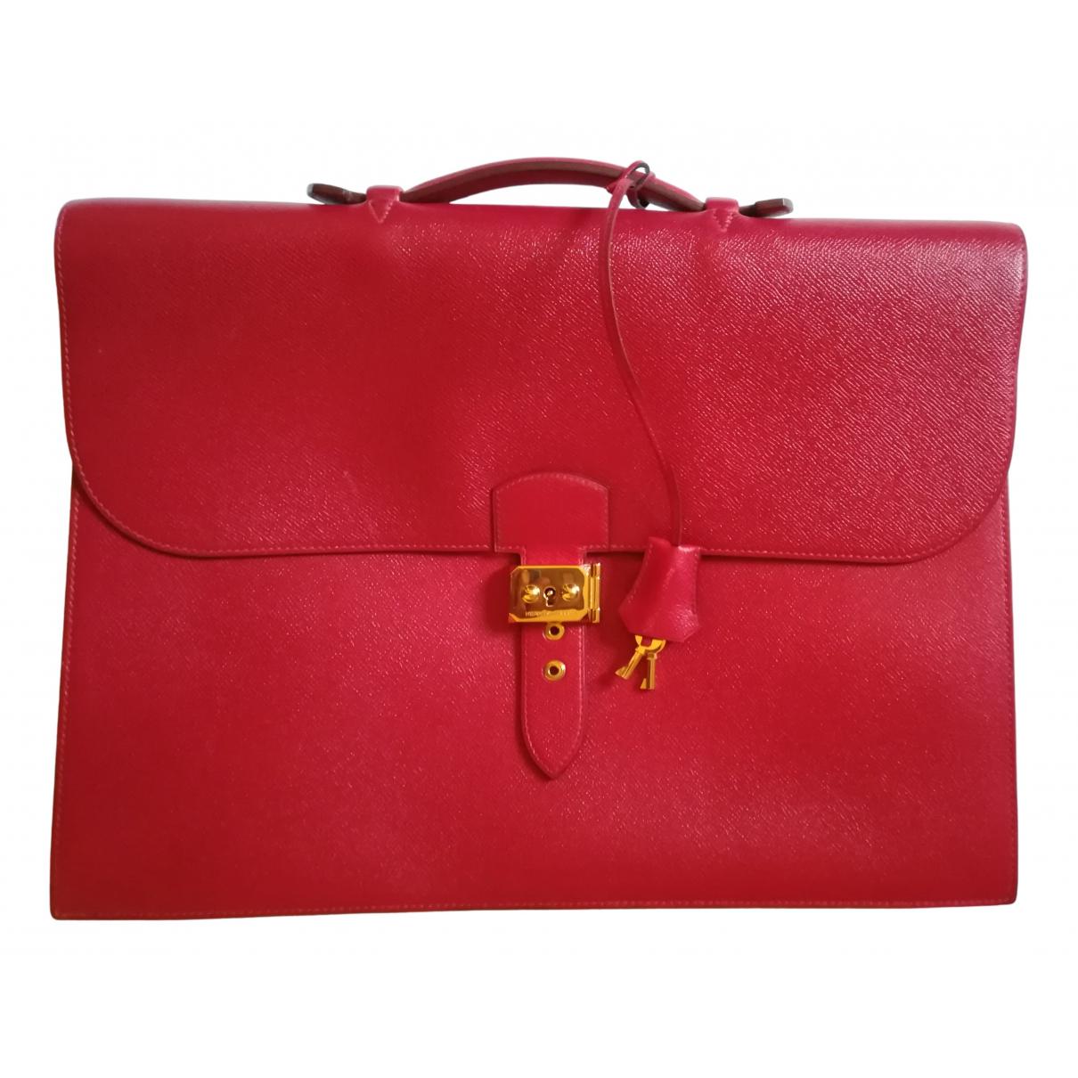 Hermès Sac à dépèches Red Leather bag for Men N
