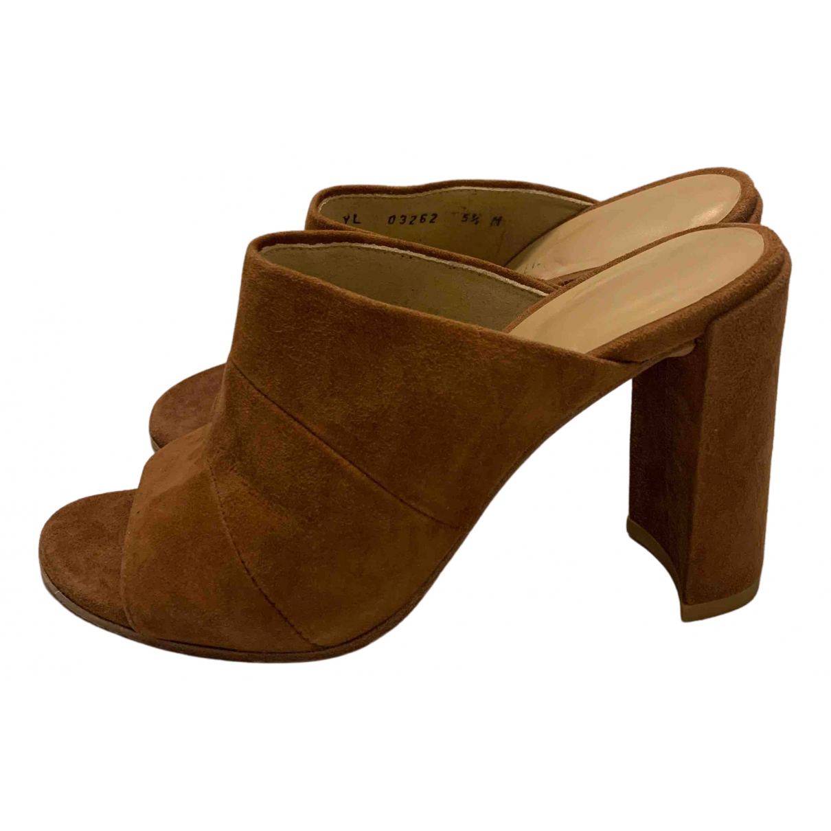 Stuart Weitzman N Brown Suede Mules & Clogs for Women 5.5 US