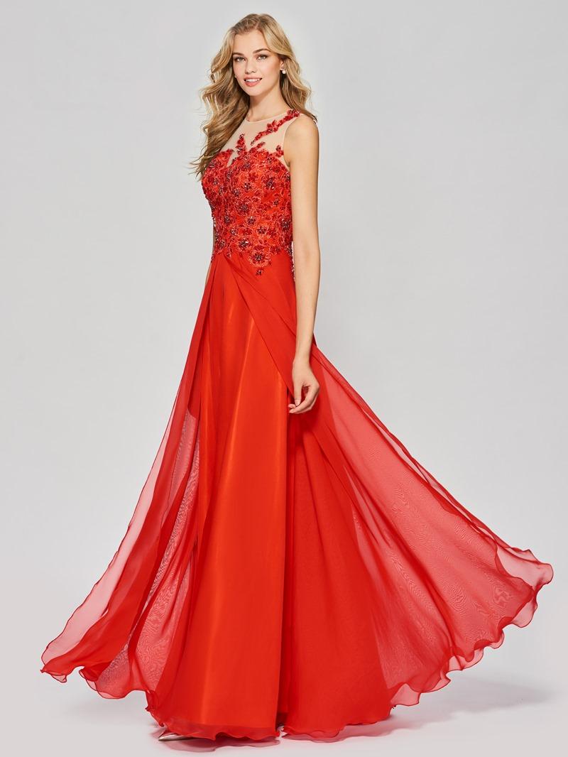 Ericdress A Line Bateau Neck Beaded Applique Long Prom Dress