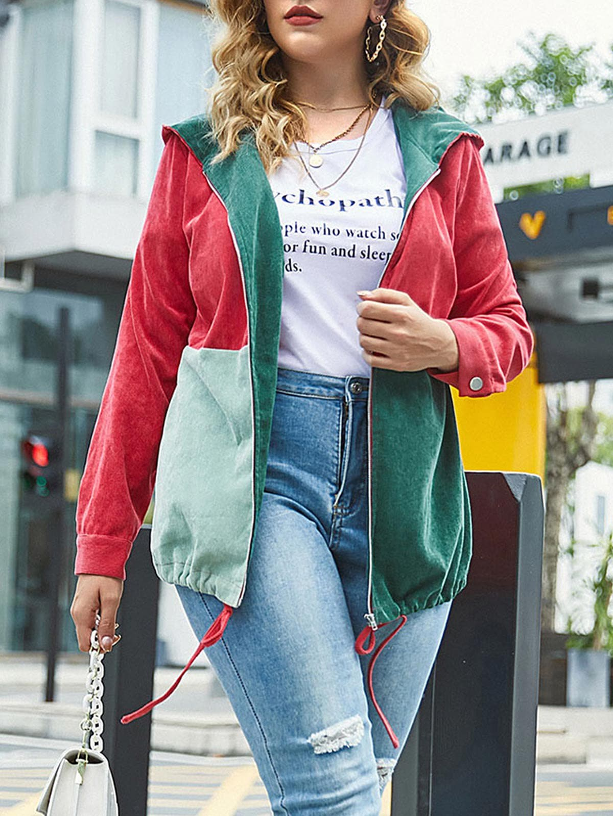 Plus Size Corduroy Color Blocking Hooded Drawstring Jacket