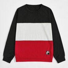 Sweatshirt mit Farbblock und Flicken