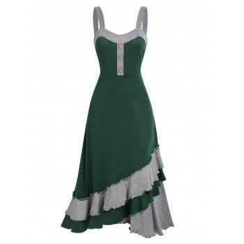 Colorblock Layered Ruffle Cami Mid Calf Dress