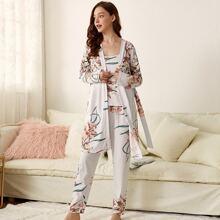 3pcs Floral Print Cami PJ Set & Belted Robe
