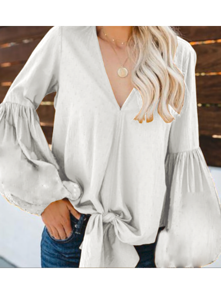 Yoins Celmia White Tie-up V-neck Long Sleeves Blouse