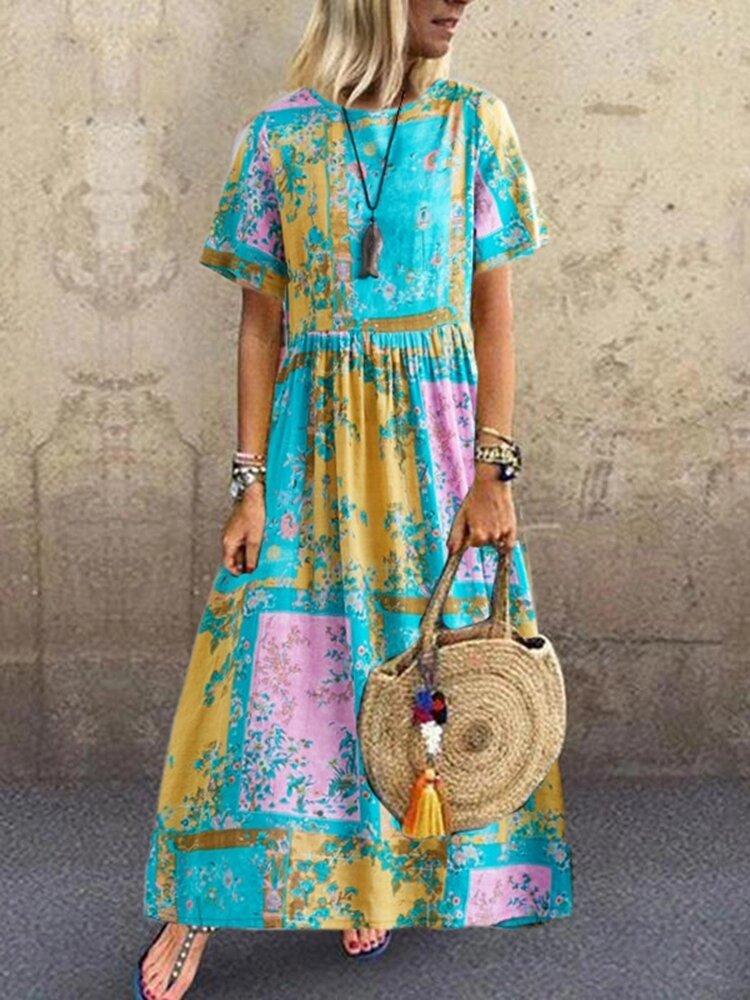 Floral Print Contrast Color Short Sleeve Vintage Dress