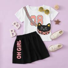 Toddler Girls Cat Bag Print Tee & Letter Graphic Skirt
