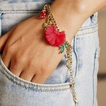 Armband mit Blumen & Blatt Anhaenger und Kette