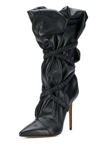 Milanoo Mid Calf Boots Black Pointed Toe Ruched Bandage Sexy Shoes Boots