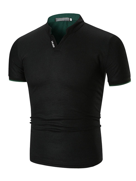 Milanoo Men Polo Shirt Stand Collar Slim Fit Casual Short Sleeve T Shirt