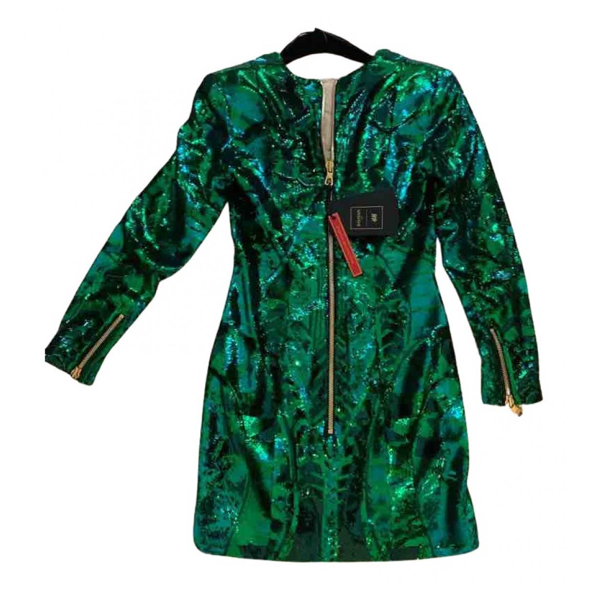 Balmain For H&m \N Kleid in  Gruen Mit Pailletten