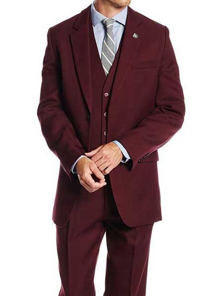 Men's Burgundy Single Breasted Suny Vested Notch Lapel 3 Piece Suit