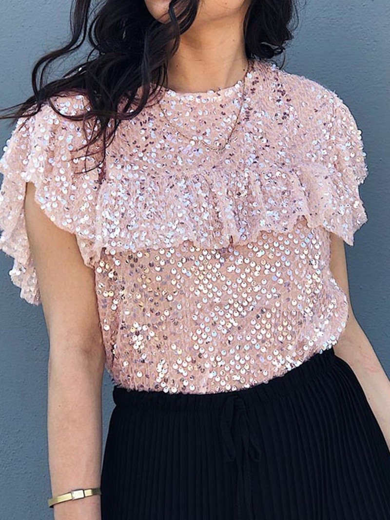 Ericdress Patchwork Sequins Round Neck Short Sleeve Fashion Blouse