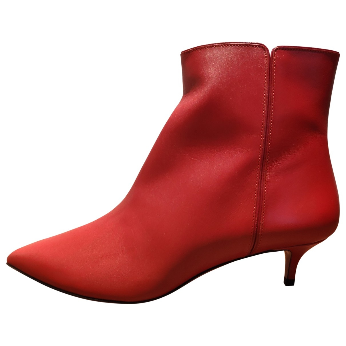 Aquazzura \N Red Leather Ankle boots for Women 36 EU
