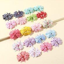 Toddler Girls Flower Pattern Bow Hair Tie