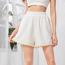 Elastic Waist Lace Trim Wide Leg Shorts