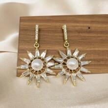 Pendientes con diamante de imitacion con perla artificial
