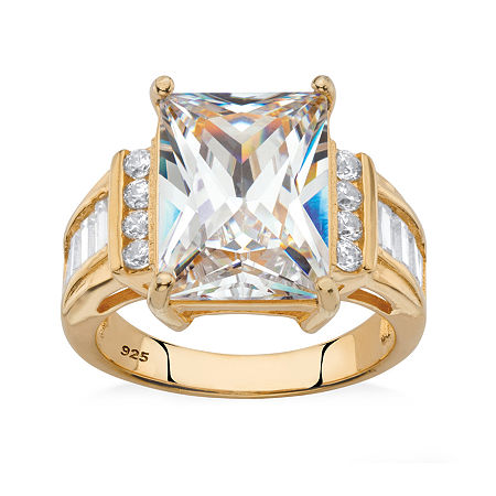 DiamonArt Womens White Cubic Zirconia 14K Gold Over Silver Engagement Ring, 8 , No Color Family