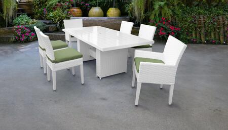 MONACO-DTREC-KIT-4ADC2DCC-CILANTRO Monaco 7-Piece Outdoor Patio Dining Set with Rectangular Table + 4 Side Chairs + 2 Arm Chairs - Sail White and