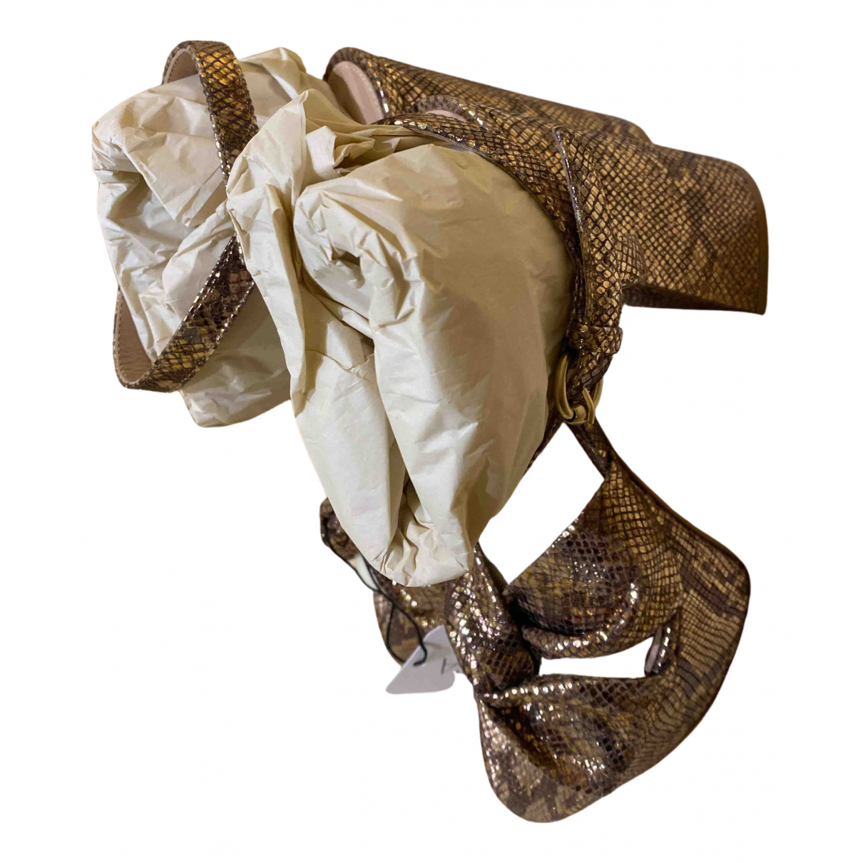Gianvito Rossi - Sandales   pour femme en serpent d'eau - dore