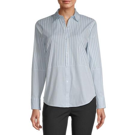 Worthington Womens Long Sleeve Poplin Blouse, Medium , Blue