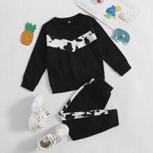 Sweatshirt mit Kuh Muster & Jogginghose