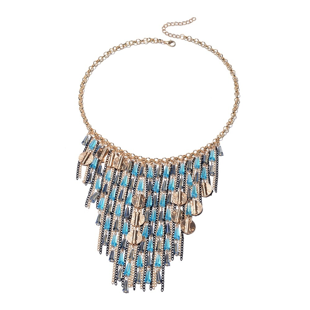 Dual Tone Plated Blue Glass Necklace Size 22 Inch - Necklace 22'' (Blue - Necklace 22'' - Blue)