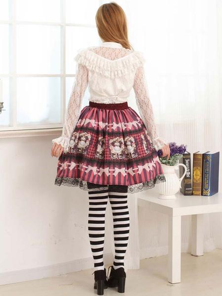 Milanoo White Lace Lolita Blouse Long Sleeves