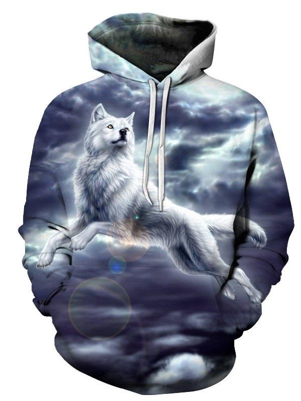 Men's Fashion Novelty Sweatshirts 3D Animal Printed Hoodies with Pocket