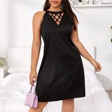 Tunika Kleid mit Kreuzgurt vorn und Neckholder
